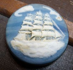 Vintage INCOLAY Cameo Style Clipper Sailing Ship Hand Carved Stone Belt Buckle #Unbranded #BeltBuckle