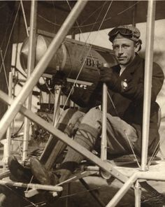Pilot Arch Hoxsey seated in his plane after setting a nonstop cross-country record by flying 87 miles from Springfield to St. Louis on October 8, 1910 to open the International Air Meet at Kinloch Field. Missouri History Museum