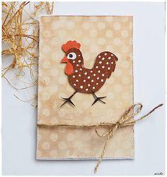misha_cards / Veľkonočná pohľadnica - bodkovaný kohútik