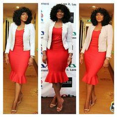 @realomosexy stays slaying  she looked chic and stunning in a red dress X white blazer at #pressconfernce #OTRM2.. #fashion #style #glam #stylish #instalike #instagood #styleblogger #fblogger #Emmanuelsblog