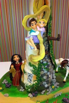 This Magnificient Tangled Cake features Rapunzel, Flynn Rider, Maximus, Pascal, and Mother Gothel.