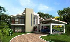 Fachadas de Casas Modernas: Fachada de residencia moderna estilo americano