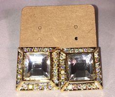 Shar K Square Glitz Gold Amp Rhinestone Earrings Studs | eBay