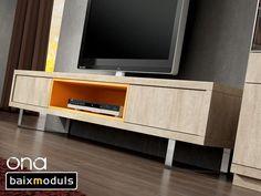Los muebles para la televisión del catálogo Ona de Baixmoduls son muebles prácticos y de calidad pensados para albergar todo tipo de televisores multimedia