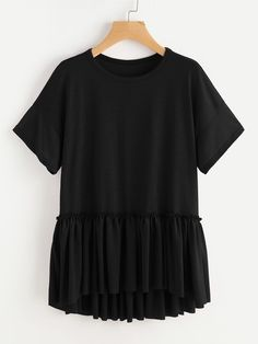 Shop Drop Shoulder Frill Detail Dip Hem Tee online. SheIn offers Drop Shoulder Frill Detail Dip Hem Tee & more to fit your fashionable needs.