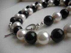 Black and White Swarovski Pearls
