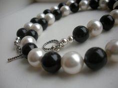 Black and White Swarovski Pearls