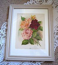 Antique Victorian ROSES Print by Marie Low Chromolithograph