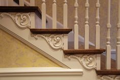 Used properly, ornament adds flair and a natural spark to a home. These decorative white-oak stair tread brackets offer visual support and substance to the stairs themselves. Victorian Homes, Staircase, Decor, Victorian Stairs, Stairs, Stair Brackets, House Stairs, Renovations, Home Decor