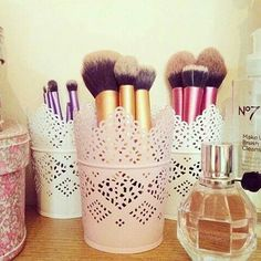 real technique brushes cheap but work better then most of the expensive brushes & Pretty Makeup Brush Storage Idea. Planters from IKEA. | New House ...