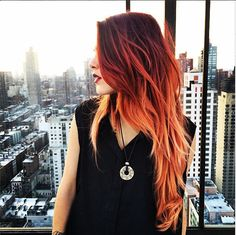 Hair Dyed Tips Brown Ideas - All For Hair Color Trending Orange Ombre Hair, Ombre Hair Color, Hair Colors, Brown Hair Orange Tips, Tone Orange Hair, Galaxy Hair Color, Black Ombre, Orange Orange, Dyed Tips
