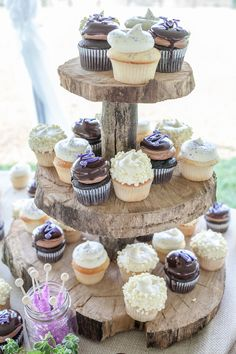 Rustic spring wedding  |  1326 studios -- Rustic wedding cupcake stands. #rusticwedding #weddingcupcakes
