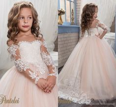 2018 Arabic Blush Pink Flower Girls Dresses For Weddings Ball Gown Long Sleeves Lace Appliques Birthday Girl First Communion Dresses Custom Pretty Flower Girl Dresses, Toddler Flower Girl Dresses, Wedding Flower Girl Dresses, Lace Flower Girls, Toddler Skirt, Girl Toddler, Gown Wedding, Vestidos Color Salmon, Gowns For Girls