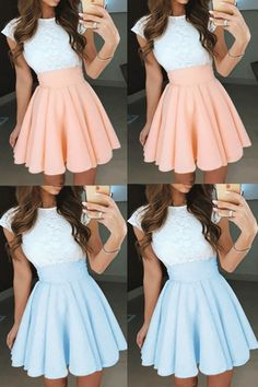 Princess Prom Dresses, Pearl Pink Prom Dresses, Short Homecoming Dresses With Pleated Cap Sleeve Bateau #homecomingdresses #shortpromdresses #minidresses #partydress