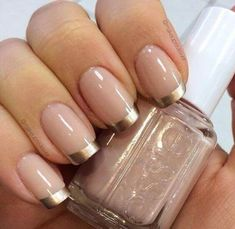 40 Easy Nail Art Designs for Beginners - Simple Nail Art Design French Manicure Gel, French Nails, French Pedicure, French Manicure Designs, Pedicure Designs, Gold Nail Designs, Simple Nail Art Designs, Manicure Colors, Manicure Tips