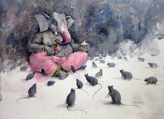 Lord Ganesha(Watercolor on paper) Shiva Art, Ganesha Art, Krishna Art, Hindu Art, Jai Ganesh, Mahakal Shiva, Shree Ganesh, Watercolor Landscape Paintings, Landscape Drawings
