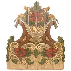 19th Century Portugese Polycromed Headboard,  | From a unique collection of antique and modern bedroom furniture at https://www.1stdibs.com/furniture/more-furniture-collectibles/bedroom-furniture/