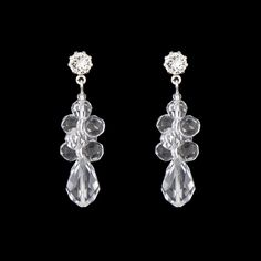 "Teardrop Cluster Earrings - 1.5"" long, made with Swarovski® crystal.  Assembled in USA."