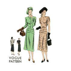 1940s Dress Pattern Bust 34 UNCUT Vogue 6125 Draped by CynicalGirl