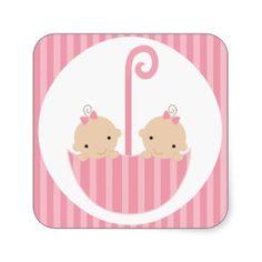 Twin Girls Baby Shower Sticker