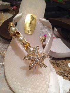 3bc0f7f6b257 Starfish Bridal Flip Flops