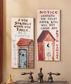 Set of 2 Wooden Outhouse Bathroom Etiquette Sign Humorous Saying Primitive Plaque Decoration Outhouse Bathroom Decor, Primitive Bathroom Decor, Primitive Bedroom, Rustic Bathroom Designs, Bathrooms Decor, Country Bathrooms, Vintage Bathrooms, Primitive Antiques, Bathroom Signs