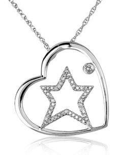 Women's Fashion Jewelry: Sterling Silver 0.25 ctw Openwork Star and Round-Cut Diamond in Heart Pendant Necklace: Pendants and Necklaces
