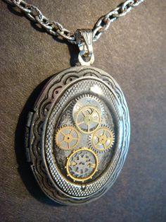 Steampunk Sprocket and Gear Locket Necklace  by CreepyCreationz