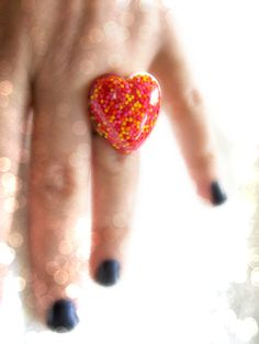 Your place to buy and sell all things handmade Dots Candy, Candy Sprinkles, Yellow Candy, Orange Yellow, Filigree Ring, Product Photography, Statement Rings, Tween, Red And Pink