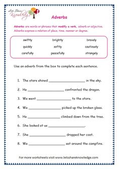 Grade 3 Grammar Topic Adverbs Worksheets - Lets Share Knowledge Worksheets For Grade 3, Social Studies Worksheets, Printable Worksheets, Verb Worksheets, Printables, Teaching English Grammar, English Worksheets For Kids, Grammar Lessons, Adverbs Worksheet