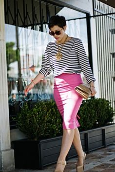 making a hot pink pencil skirt slightly casual. by muriel