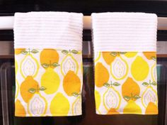 Set of 2 Kitchen Towels in Juicy Lemon by chickadeecircle on Etsy, $15.00