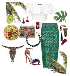 """""""Tropical brunch"""" by carliroda on Polyvore featuring Stella Jean, Alexander McQueen, Gucci, Our Exquisite Corpse, Rock 'N Rose, Olivina, Burberry and Smashbox"""