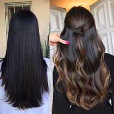 32 Brilliant Balayage Hair Color Highlight for 2019 Hair Color Highlights, Ombre Hair Color, Cool Hair Color, Carmel Highlights, Brown Hair Balayage, Hair Color Balayage, Balayage Hair Dark Black, Haircolor, Brunette Hair
