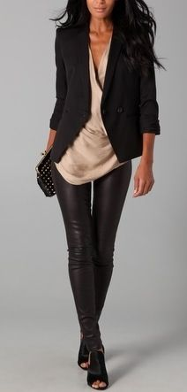 Black blazer, shoes, leather leggings; neutral top. Something Nikita would wear.