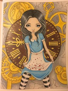 Jasmine Becket Griffith coloring book pages. Alice in Clockwork. Colored by Dawn.