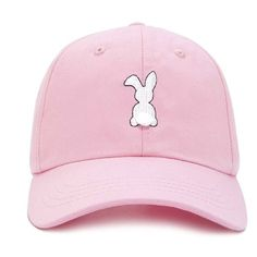 Forever21 Bunny Tail Dad Cap ($9.90) ❤ liked on Polyvore featuring accessories, hats, forever 21 hats, embroidered caps, forever 21, bunny hat and brim cap
