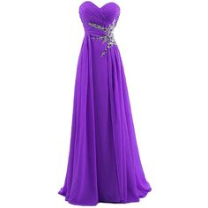Dresstells Women's Sweetheart Beading Floor-length Chiffon Prom Dress (€54) ❤ liked on Polyvore featuring dresses, gowns, long dresses, purple, chiffon dress, long purple dress, long chiffon dress, purple evening gowns and beaded gown