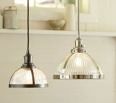 PB Classic Pendant - Ribbed Glass #potterybarn. Bought two for for kitchen. Then decided to go another direction with the feel of the room. So, these got moved to kid's play room.  Still a great choice to add lighting, and some warmth to their space.