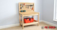 How to build a DIY Kids Workbench. This bench is easy to make and perfect for your little builder or woodworker. Includes pegboard tool storage too!