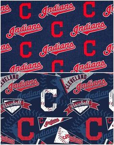 MLB Logo Cleveland Indians Navy & Red Cotton Fabric by Fabric [Choose Your Cut Size] Indiana, Official Nfl Football, Indian Navy, Drum Lessons, Sculpture Projects, Cleveland Indians, Fabric Patterns, Mlb, Printing On Fabric