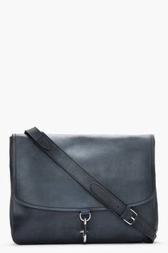 d8dff26007 MAISON MARTIN MARGIELA Charcoal grey leather minimalist messenger bag Grey  Leather