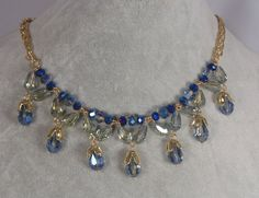 Gold With Blue Glass Blossom Drop Necklace Earrings Set Fashion Jewelry NEW #JM