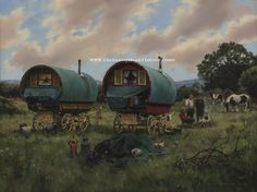 Oil painting of gypsy camp by Diana Rosemary Lodge entitled 'Fireside Chat'.  www.dianarosemarylodge.com
