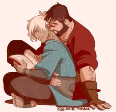 """I like it when you tie up your hair"" By kisu-no-hi Hawke and Fenris"