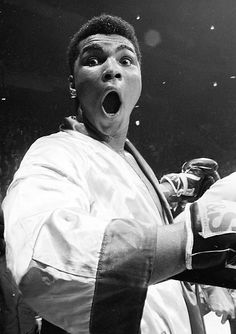 Muhammad Ali clowning around.