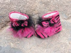 Pink Zebra Boots by sassysistabowtique on Etsy, $12.00