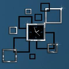 Barato 2015 nova promoção verdadeira decoração espelho relógio relógios relógio de parede sala de estar moderna 3d agulha de quartzo de acrílico grátis frete, Compro Qualidade Roteadores instalados diretamente de fornecedores da China:     2015 nova Promoção real casa decoração espelho relógio relógio de parede relógios de sala de estar moderna 3D Quartz