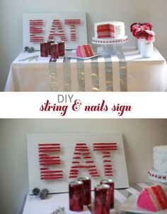 nail / yarn art project . print word & tape to wood board, nail nails around edge of letters, tie yarn or string