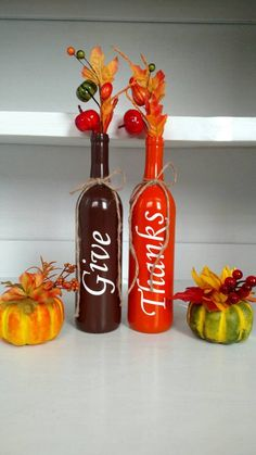 decorated wine bottles | 16 Charming Handmade Thanksgiving Centerpiece Ideas That Will Attract ...